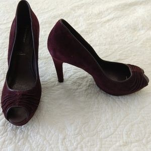 ROCKPORT Purple Velour Peep Toe Heels